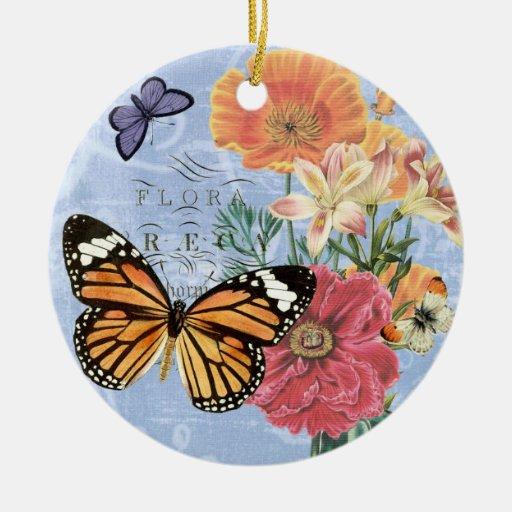 Ornamento de la flora de la mariposa del vintage… ornamentos de reyes magos