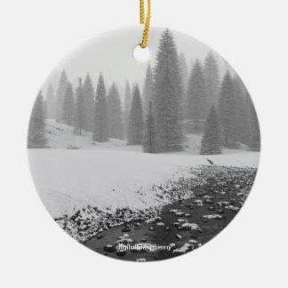 Ornamento de la foto de la cala Nevado Adorno Redondo De Cerámica