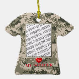 Ornamento de la foto de la camisa del ejército adorno de cerámica en forma de playera