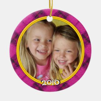 Ornamento de la foto de la tela escocesa de las Fe Adorno De Navidad