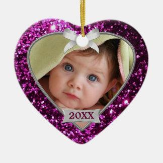 Ornamento de la foto de los corazones de la chispa adorno navideño de cerámica en forma de corazón