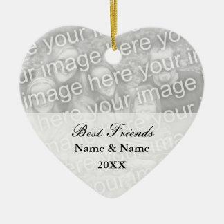 Ornamento de la foto de los mejores amigos para adorno navideño de cerámica en forma de corazón