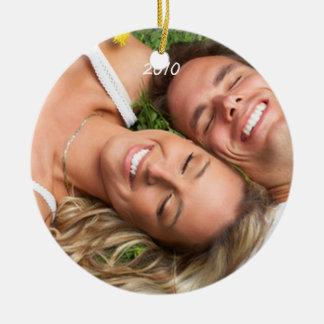 Ornamento de la foto de los pares del navidad de ornato