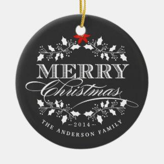 Ornamento de la foto del acebo de la pizarra de adorno navideño redondo de cerámica