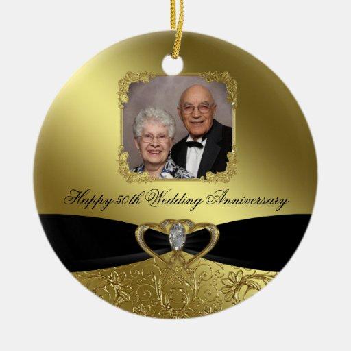 Ornamento de la foto del aniversario de boda de adorno navideño redondo de cerámica