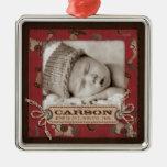 Ornamento de la foto del bebé del vaquero adornos