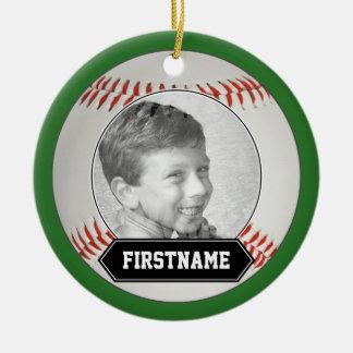 Ornamento de la foto del béisbol para la juventud adorno navideño redondo de cerámica