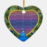 Ornamento de la foto del boda del pavo real ornamento de navidad