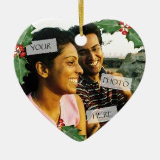 Ornamento de la foto del corazón de los pares del adorno navideño de cerámica en forma de corazón