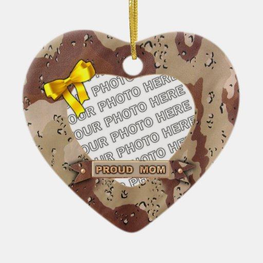 Ornamento de la foto del corazón del ejército adorno navideño de cerámica en forma de corazón