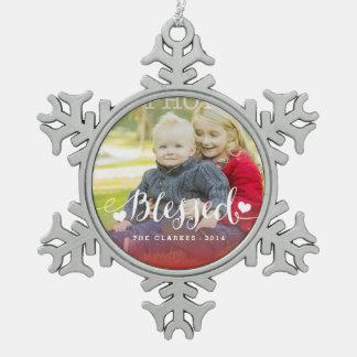 Ornamento de la foto del día de fiesta de las adorno de peltre en forma de copo de nieve