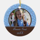 Ornamento de la foto del explorador del brownie ornatos