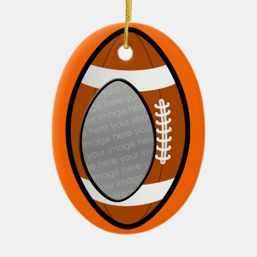 ornamento de la foto del fútbol adorno navideño ovalado de cerámica