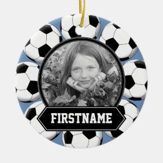Ornamento de la foto del fútbol para la juventud ornamento para arbol de navidad