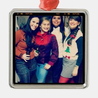 ornamento de la foto del instagram adorno navideño cuadrado de metal