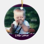 Ornamento de la foto del lancero adorno navideño redondo de cerámica