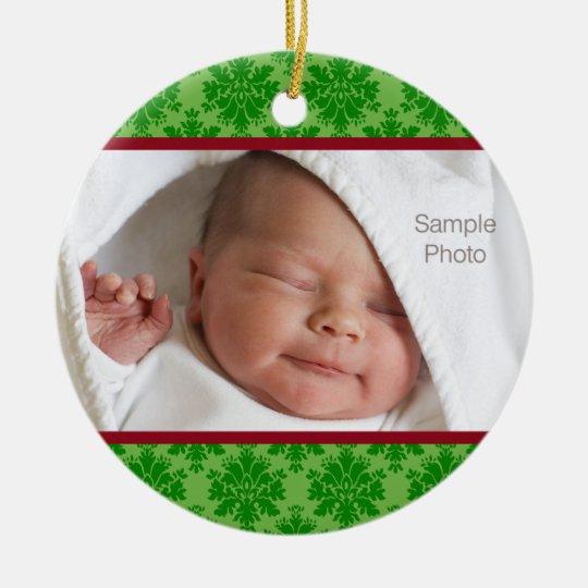 Ornamento de la foto del navidad adorno navideño redondo de cerámica