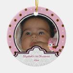 Ornamento de la foto del navidad de la niña del lu ornamentos de navidad
