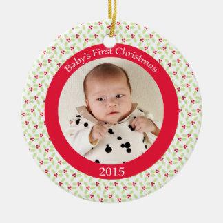 Ornamento de la foto del navidad del bebé de la adorno redondo de cerámica