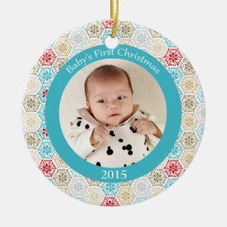 Ornamento de la foto del navidad del bebé de los adorno redondo de cerámica