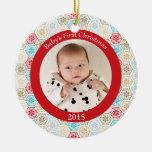 Ornamento de la foto del navidad del bebé de los ornamente de reyes