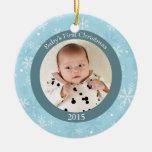 Ornamento de la foto del navidad del bebé de los ornamento para arbol de navidad