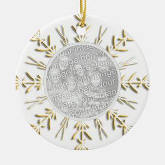 Ornamento de la foto del navidad del copo de nieve ornamento de navidad