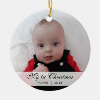 Ornamento de la foto del navidad del | del bebé adorno navideño redondo de cerámica