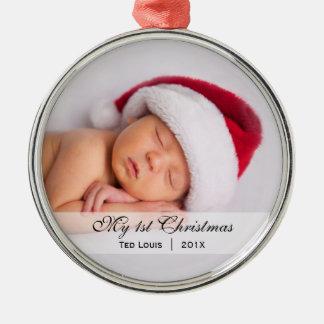 Ornamento de la foto del navidad del | del bebé adorno redondo plateado