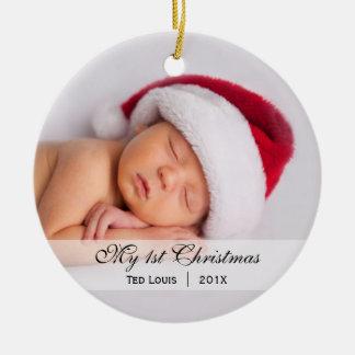 Ornamento de la foto del navidad del | del bebé adorno redondo de cerámica
