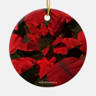 Ornamento de la foto del Poinsettia/del acebo Ornamento Para Reyes Magos