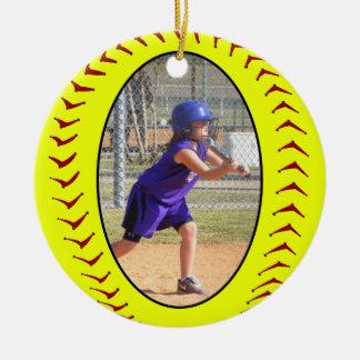 Ornamento de la foto del softball de Fastpitch Adorno Navideño Redondo De Cerámica