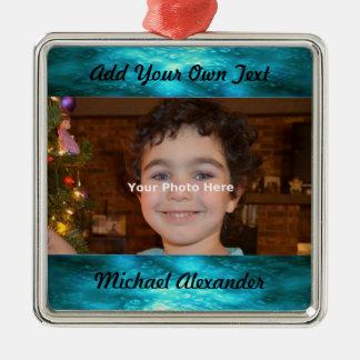 Ornamento de la foto del tono de la joya adorno navideño cuadrado de metal
