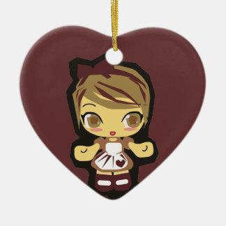 Ornamento de la galleta del chocolate Mimi Adorno Navideño De Cerámica En Forma De Corazón
