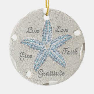 Ornamento de la gema de las estrellas de mar del adorno navideño redondo de cerámica
