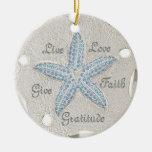 Ornamento de la gema de las estrellas de mar del d adornos de navidad