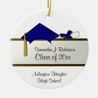 Ornamento de la graduación del casquillo azul adorno navideño redondo de cerámica