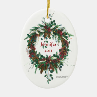 Ornamento de la guirnalda de la ramita y de la adorno navideño ovalado de cerámica