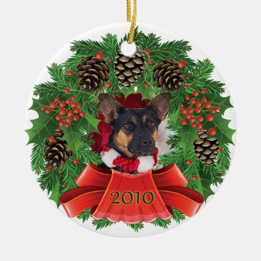 Ornamento de la guirnalda del día de fiesta del adorno navideño redondo de cerámica