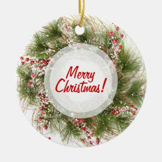 Ornamento de la guirnalda del navidad adorno navideño redondo de cerámica