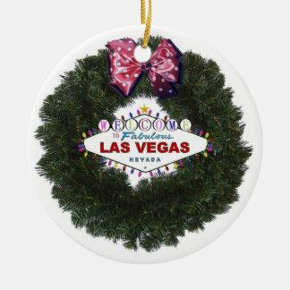 Ornamento de la guirnalda del navidad de Las Vegas Adorno Navideño Redondo De Cerámica