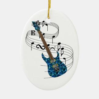 Ornamento de la guitarra eléctrica adorno navideño ovalado de cerámica