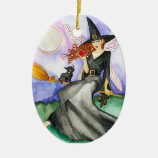 Ornamento de la hada de Halloween Adorno Navideño Ovalado De Cerámica
