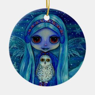 Ornamento de la hada del búho Nevado Ornamentos De Navidad