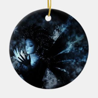 Ornamento de la hada del invierno adorno navideño redondo de cerámica