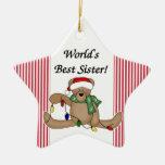 Ornamento de la hermana del mundo del oso de peluc ornamento para arbol de navidad