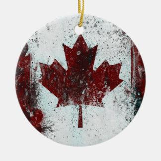 Ornamento de la hoja de arce de Canadá Adorno Redondo De Cerámica