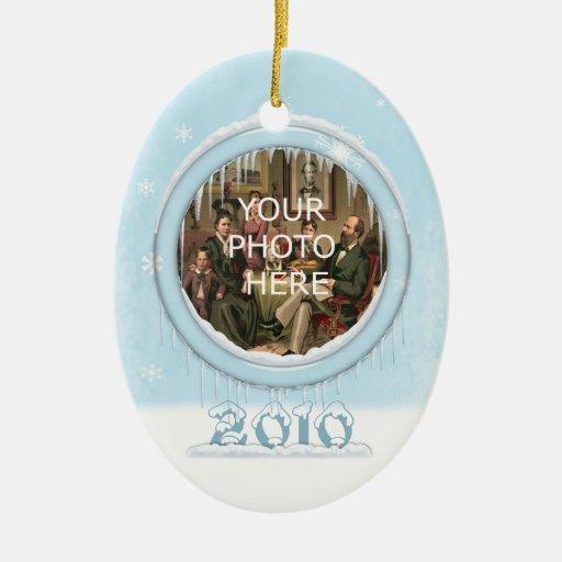 Ornamento de la imagen del oso de peluche del día adorno navideño ovalado de cerámica