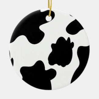 Ornamento de la impresión de la vaca adorno navideño redondo de cerámica