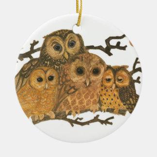 Ornamento de la impresión del búho del vintage adorno navideño redondo de cerámica